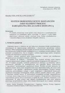 System okresowej oceny dostawców jako element procesu zarządzania relacjami z dostawcą